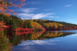 白駒荘から眺める紅葉と白駒池