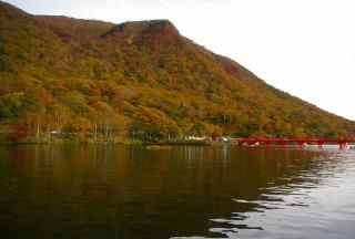 大沼湖岸の赤城神社と紅葉