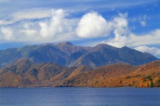 明智平展望台から中禅寺湖と白根山が一望