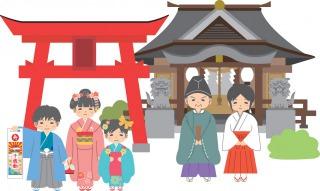 左には鳥居前に立つ七五三参りの子ども、右には神主さんと巫女さん