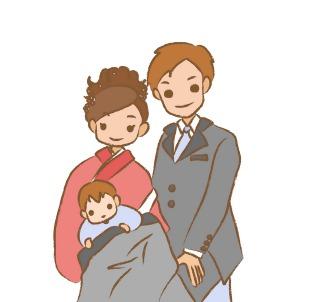ご夫婦と赤ちゃんの3人でお宮参り